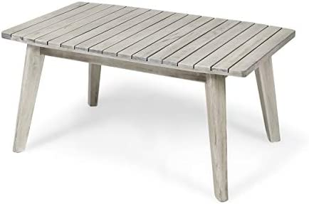 Christopher Knight Home Boyle Outdoor Acacia Wood Coffee Table, Weathered Gray Finish