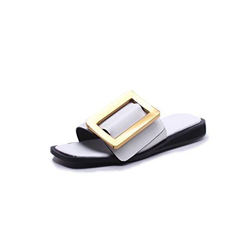 Oficina Office Transpirables y PU Zapatos Mocasines Chanclas Ligeros Mujer D Comfort 39 Zapatos Color XUE Flat Pantuflas D Tamaño Fashion ahuecados Summer de de Sandalias y Zapatos wa7dH