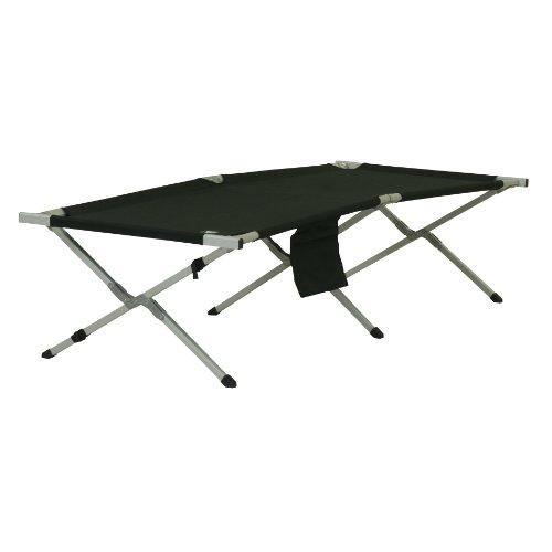 10T CB210 - Feldbett Camping-Bett Aluminium-Gestell bis 130kg schwarz 212x86x47cm inkl. Seitentasche