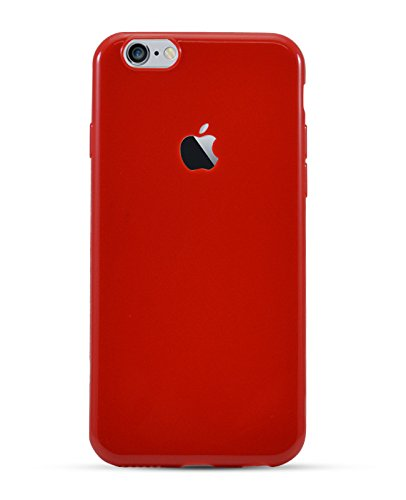 best website 3bb1a 4b41c HighSky Ultra Slim Soft Silicone Apple logo Cut Back Cover for iPhone  5/5s/SE (Glossy Red)