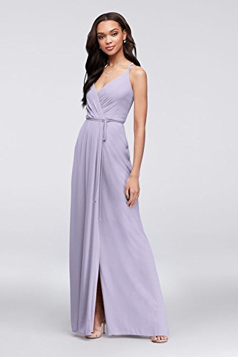 David's Bridal Double-Strap Long Georgette Bridesmaid Wrap Bridesmaid Dress Style F19755, Iris, 16]()