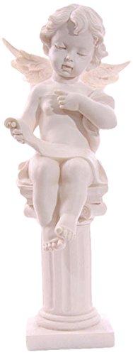 Dochsa Seated Cherub Figurine on Pillar Reading ()