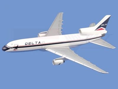 L-1011 Tristar,  Delta Airlines Aircraft Model Mahogany Display Model / Toy. Scale: 1/130