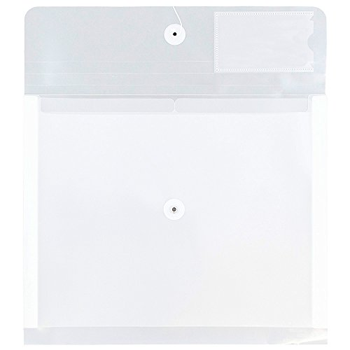 (JAM Paper Plastic Envelopes with Button & String Tie Closure & 2 Dividers - Letter Booklet - 12 3/4 x 10 1/2 - Clear - Sold Individually)