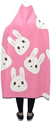 Couverture à Capuche Kids Bunny Blanket 60x50 Pouces Comfotable Wrap à Capuche