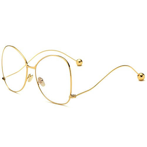 oversized designer eyeglasses 1f74  SojoS Oversized Clear Lens Glasses Metal Frame Eyeglasses Eyewear with  Steel Ball SJ5005 With Gold Frame