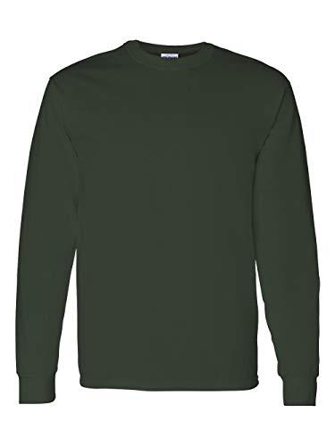 Gildan mens Heavy Cotton 5.3 oz. Long-Sleeve T-Shirt(G540)-FOREST GREEN-S