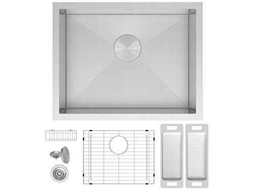 """- ZUHNE 23x18 Inch Laundry Utility, Wet Bar, Prep, RV Zero Radius Single Bowl Under Mount Stainless Sink W. Grate Protector, Caddy, Colander Set, Drain Strainer and Mounting Clips, Fits 27"""" Cabinet"""