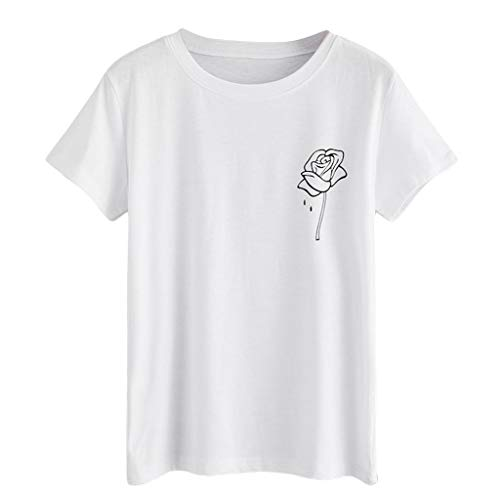 GHrcvdhw Womens Stylish Casual Summer O-Neck Tops Rose Print Solid Short Sleeve Daily T-Shirt Tops