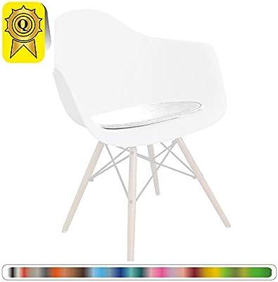 Decopresto Venta 1 x Almohadilla Personalizada para la Silla escandinava Material: imitación de Cuero Color: Blanco DP-PADA-WH-1P