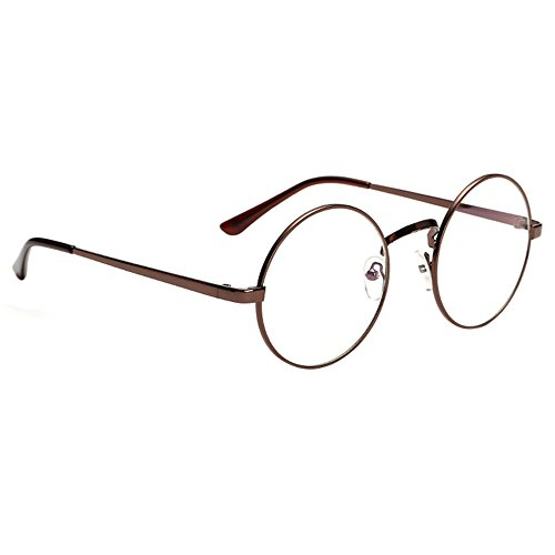 761f932ca0e Scorpiuse Aviator Glasses Clear Lens Retro Metal Frame Eyeglasses (Round  Brown