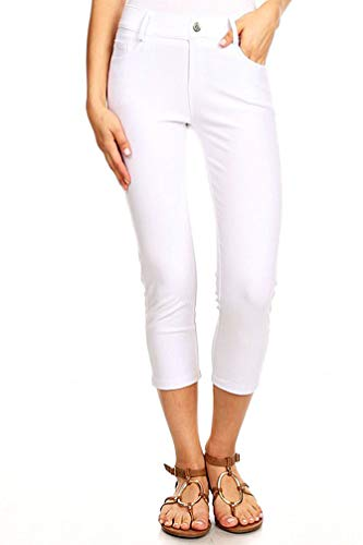 BENNY & LOUIE Women's Cotton Blend Stretchy Skinny Jeggings Pants 817 White L ()