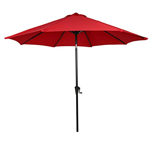 Ulax furniture 9 Ft Outdoor Umbrella Patio Market Umbrella Aluminum with Push Button Tilt&Crank, Sunbrella Fabric, Umbrella Cover Included, Jockey Red Review