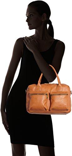 Orange à Made Cuoio la cuir 36x26x15cm in 100 femme et Sac main d'épaule à en CTM véritable Italy HOxqag5wT