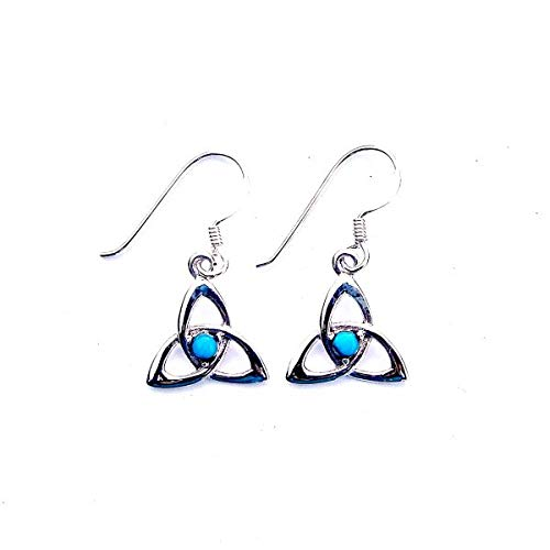 Stunning Turquoise Goddess Triquetra Earrings - Sterling Silver