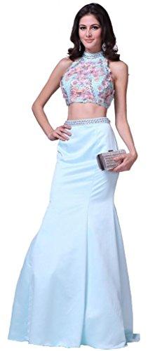 Meier Women's 3D Flower Two Piece Mermaid Evenging Formal Prom Dress-6