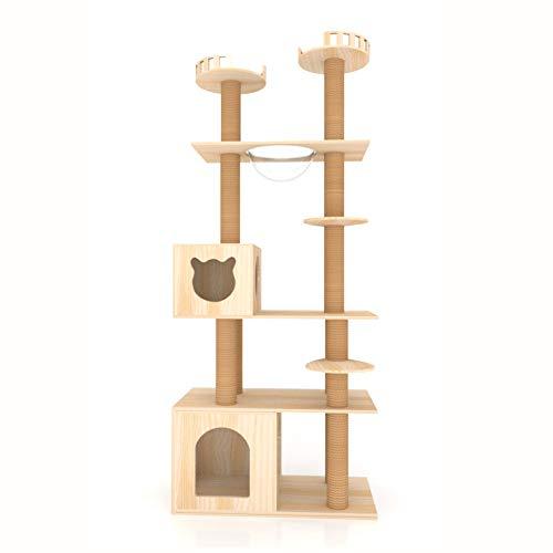 GBY Massivholz Katzenklettergerüst große Katzenvilla, Katzenbaum mit Nest Katzenkratzbaum Springplattform Mehrlagig Klettergerüst 210 * 80 * 40cm