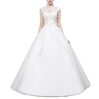 JoJoBridal Women's High Neck Tulle Floor Length Ball Gown Wedding Dresses WD028