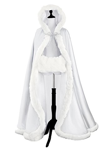BEAUTELICATE Women's Bridal Cape Wedding Cloak With Fur Floor-length White