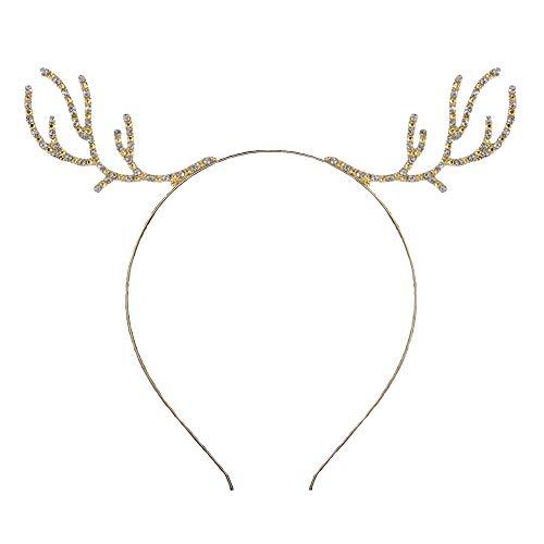 Reindeer Antler Headband Christmas Deer Antler Hairband Fawn Horn Hair Bands Women Girls Hair Hoop Headdress Headwear Headpiece Party Decoration Cosplay Costume Cute Handmade Hair Accessories Golden