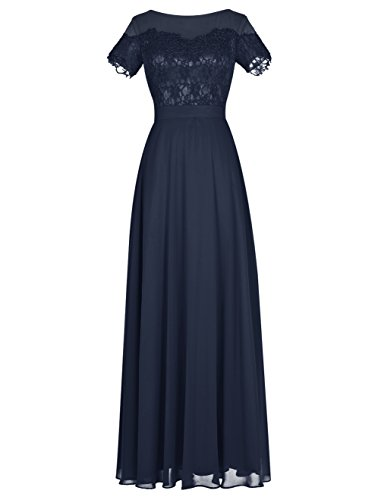 ALAGIRLS Long Lace Bridesmaid Dress Short Sleeves Prom Evening Dress Navy US4