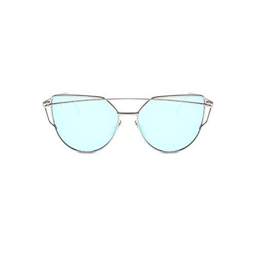 Mujer Moda Espejo Color de Twin gafas ojo gafas vigas gato Marco de metal de Winwintom E de sol d5gnxd