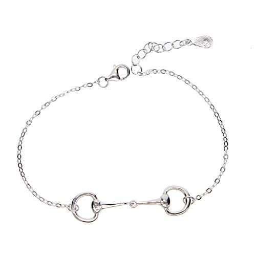 HOT Pure 925 Sterling Silver Snaffle Bit Tennis Bracelet Horse Couple Jewelry with 3 Color Best Perfect Horse Gift for Women Men,Platinum Plated