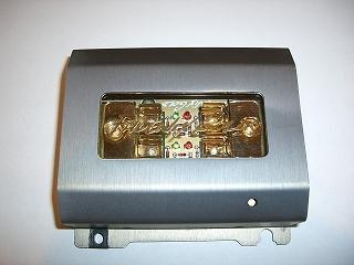 Phoenix Gold ZBB121TI, Fuse Block with Diagnostics Plugs for AGU Fuses, Titanium Series, output: 1 Gauge, 2xsecured, color: titanium, gold-plated