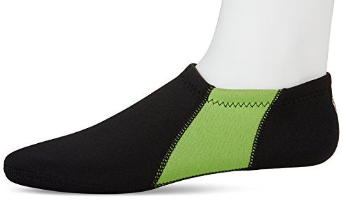 NuFoot Booties Men's Shoes, Best Foldable & Flexible Footwear, Fold and Go Travel Shoes, Yoga Socks, Indoor Shoes, Slippers, Black with Green Stripes, Large