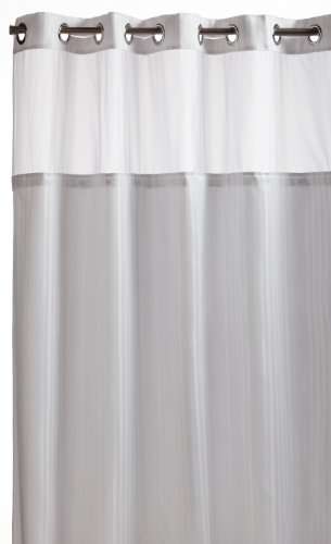 (Hookless RBH53MY306 Herringbone Built-in Fabric Liner Fabric Shower Curtain -  White)