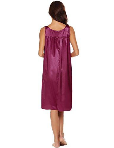 Ekouaer In Notte Di Grandi Dimensioni Raso Da Vino Rosso Donna Camicia Sciolto rH1qxStr