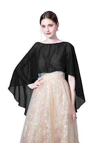 Silk Chiffon Sequin - Wedding Capes Womens Soft Chiffon Shrug Bridal Long Shawl and Wraps, Black One SIze