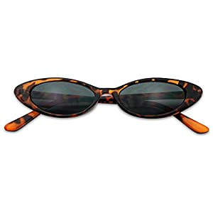 Mini Vintage Retro Extra Narrow Oval Round Skinny Cat Eye Sun Glasses Clout Goggles (Tortoise Frame | Brown)