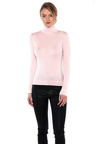 (JENNIE LIU Tissue Weight 55% Silk 45% Cashmere Ribbed Long Sleeve Turtleneck Sweater(M, PetalPink))
