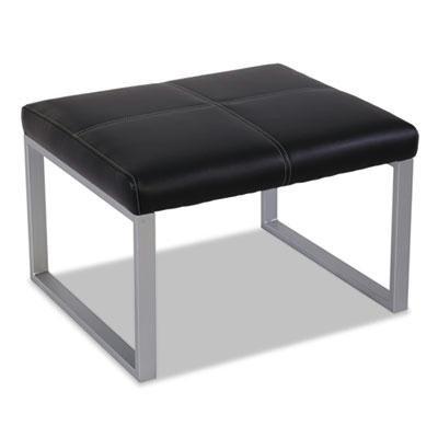 Alera Reception Lounge Series Cube Ottoman, 26-3/8 x 22-5/8 x 17-3/8, Black/Silver by Alera