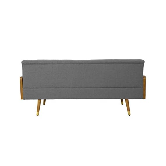 Christopher Knight Home Aidan Mid Century Modern Tufted Fabric Sofa, Gray - This mid Century modern sofa is a wonderful addition to any room in your home. Featuring wood sides and rounded legs for a true Mid Century feel. This sofa has extra plush cushioning and a button Tufted Seat and Back. With both style and comfort, you can't go wrong with this sofa. Includes: one (1) sofa Material: fabric - sofas-couches, living-room-furniture, living-room - 31NlP0TdjDL. SS570  -