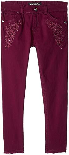 XOXO Girls' Big Stretch Twill Skinny Pant, Burgundy Embroidered, 12