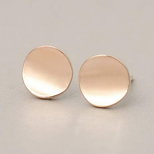 Monowi 1Pair Exaggerated Flat Rose Gold Plated Simple Round Earrings Ear Stud Jewelry   Model ERRNGS - 18935  