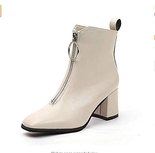 Qiusa High Heels Dicker Absatz Stiefel Damenschuhe vor hohen viereckigen Dick mit schwarzen viereckigen hohen Martin Stiefeln (Farbe   Beige, Größe   38) c2d35d