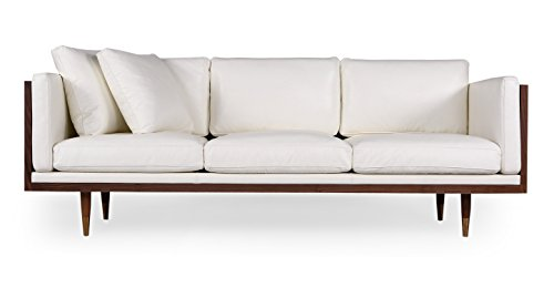 Kardiel Woodrow Lush Midcentury Modern Sofa, Walnut/White Aniline Leather