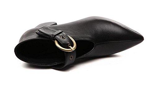 bloque del punta mujer de a talón del cuero de bombas dedo Zapatos Black 42 36 genuino V de pie en puerto tamaño del x0nvddw7