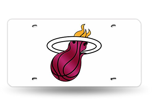 - NBA Miami Heat Laser Inlaid Metal License Plate Tag, White
