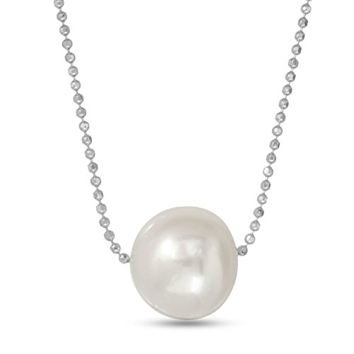 Regalia Pearls by Ulti Floating Single Freshwater Cultured Pearl Necklace .925 Sterling Silver Assembled in The U.S.A. (White) - 17 Inches ()