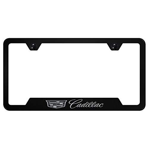 New Cadillac Logo Laser Etched License Plate Frame Metal Black Powder Coated