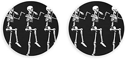 Abridores de botellas redondos de calavera esqueleto posable de Halloween / imanes de nevera sacacorchos de acero inoxidable pegatina magnética 2 piezas