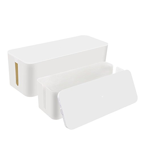 [Set of Two] Cable Management Box Cord Organizer, Large Storage Holder for Desk, TV, Computer, USB Hub, System to Cover and Hide & Power Strips & Cords - 16 x 6.2 x 5.4 and 13 x 5.3 x 5 (White)