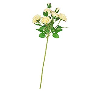 DYNWAVE Never Withered Simulation Flower Artificial Rose Bouquets with Leaf and Plastic Stem for Home Wedding Party, Mothers Day, 6 Colors 4