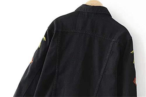 Chic Giacche Tendenza Primaverile Ricamate Lunghe Cappotto Vintage Maniche Donna Stile Libero Autunno Nero College Moda Jeans Outerwear Coat Ragazza Streetwear Schwarz Tempo 06rn70A