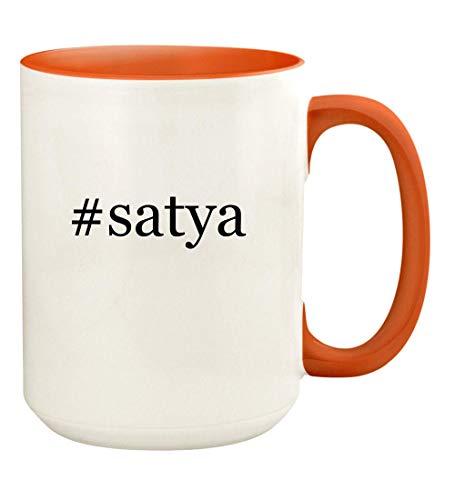 (#satya - 15oz Hashtag Ceramic Colored Handle and Inside Coffee Mug Cup, Orange)