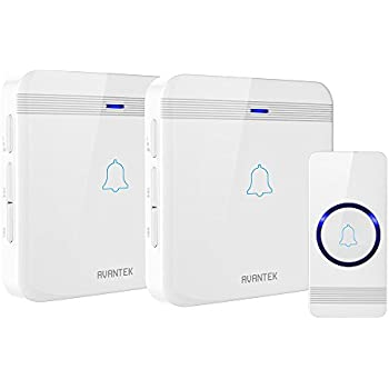 Wireless Doorbell, AVANTEK Waterproof Chime Kit Operating at Over 1300 Feet with 2 Plug-In Receivers, CD Quality Sound and LED Flash, 52 Melodies to Choose From